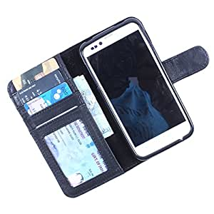Dooda Genuine Leather Wallet Flip Case For Lava 3G 402+ (BLACK)