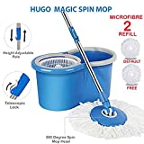 Hugo Double Drive Hand Pressure Microfibre Cleaning Mop with Free Microfiber Mop Refill (Blue)
