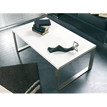Möbel InoxBlanc 87320 Table Optique Haku Tube Basse d'Acier FlTK1Juc3