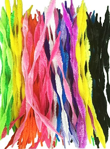 Caryko Fuzzy Bump Chenille Stems Pipe Cleaners, Pack of 100 (Mix) -