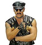 Widmann - Guantes sin dedos en símilpiel con tachuelas, talla única, color negro