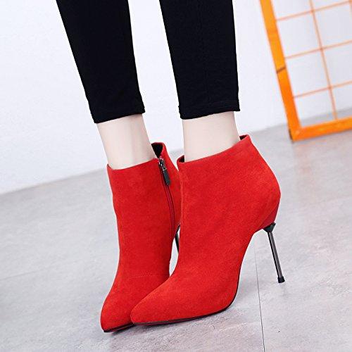 Khskx-tacón Zapatos De Metal Con Tacón Boots Martin Botas De Otoño E Invierno 36 Gules Treinta Y Nueve