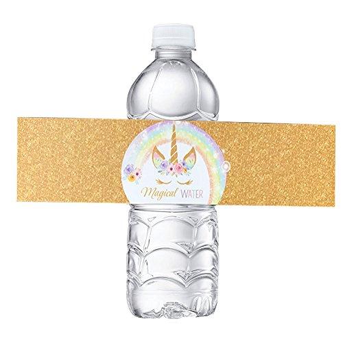 (Einhorn Flasche wraps-happy Geburtstag Wasser Flasche Label Rainbow Einhorn Mottoparty Gastgeschenken, Set 24wasserdicht Aufkleber)