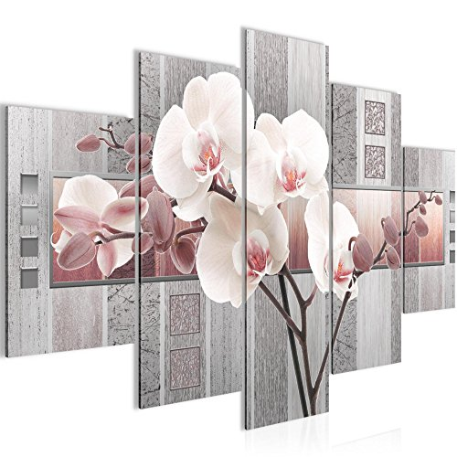 Bild 150 x 100 cm - blumen Bilder- Vlies Leinwand - Deko für Wohnzimmer -Wandbild - XXL 5 Teilig Teile - leichtes Aufhängen- 800753c