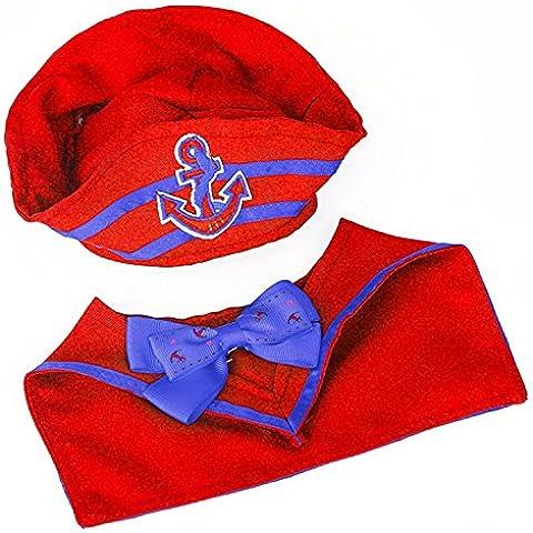 Beetest® Carino Navy Stile Animali Cane Cappello + Cravatta Collare per Gatto Cosplay Abiti Travestimenti Costumi, Taglia L - Cane Carino Travestimenti