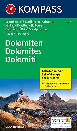 Preisvergleich Produktbild Dolomiten - Dolomites - Dolomiti: Wanderkarten-Set in der Schutzhülle. GPS-genau. 1:35000 (KOMPASS-Wanderkarten, Band 672)