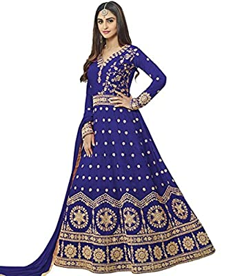 DynaBella Women's Silk New Arrival Fancy Salwar suit for Wedding Wear Punjabi Salwar Kameez Floor Length semi stitched blue color