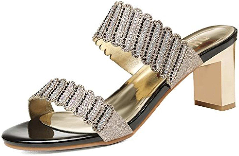 Sandalias ZHIRONG tacón alto de las mujeres del verano del dedo del pie abierto Rhinestone Roman Shoes Beach Shoes...