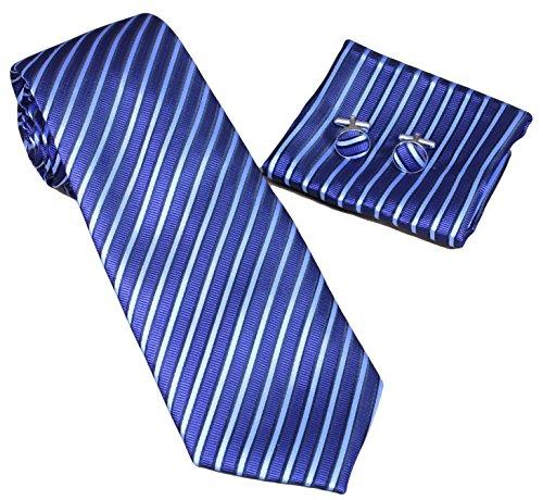 MONETTI Krawatten-Set 3-teilig - in Seide - blau gestreift - in der Geschenkbox -