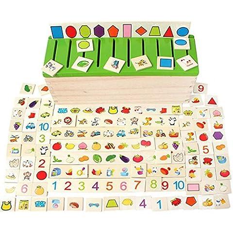 80 Piezas (8 Categoría) Juguetes Juegos Educativos Apredizajes Cuadro Caja Clasificación de Forma Figura Madera