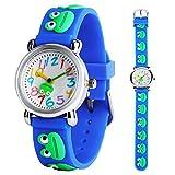 Kinder Armbanduhr Jungen Mädchen 3D Cute Cartoon Frosch blau Silikon Quarz Handgelenk Uhren Kinder Time Teacher Lernen Geschenk für Kleine Kinder Alter 3–12