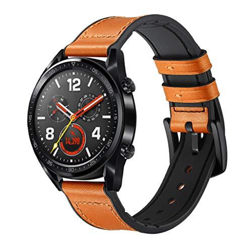 WAOTIER für Huawei Watch GT Armband Leder Armband mit Schwarzem Edelstahl Verschluss Armband für Huawei Watch GT Classic Eleganter Ersatzarmband für Frauen Männer Minimalistischer Armbandd (Gelb)