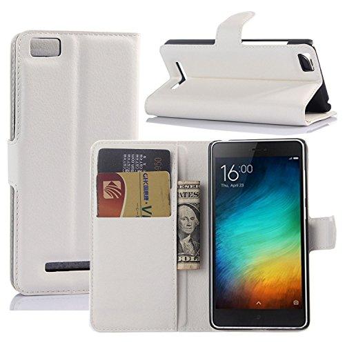 Tasche für Xiaomi Mi 4C Hülle, Ycloud PU Ledertasche Flip Cover Wallet Case Handyhülle mit Stand Function Credit Card Slots Bookstyle Purse Design weiß