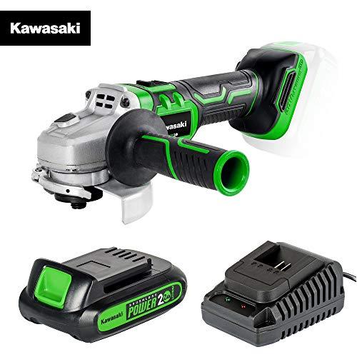 Kawasaki 603020089 AG 20 - Amoladora angular (sin escobillas, con funda, batería de 2 Ah, cargador, plataforma de 20 V)