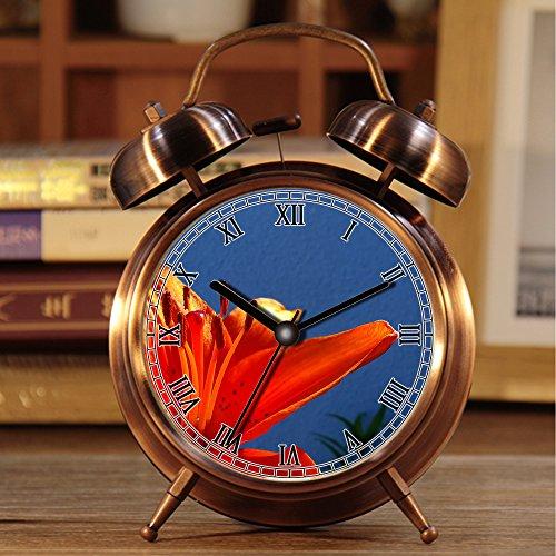 Wecker, Retro Portable Twin Bell neben Wecker mit Nachtlicht 495.Orange Lily, Blume, Frühling, Orange, Farbe (Blume Wecker)