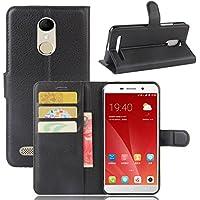 ECENCE ZTE Blade A602 Schutz-Hülle Handy-Tasche Case Cover Book-Case Wallet Brieftasche Book-Style mit Standfunktion Standfuss Schwarz 32040205