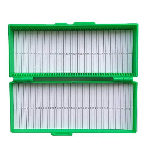 Aufbewahrungsbox mit 50 Steckplätzen für Glas-Objektträger, grün, 1 - Mit Objektträger Abdeckungen