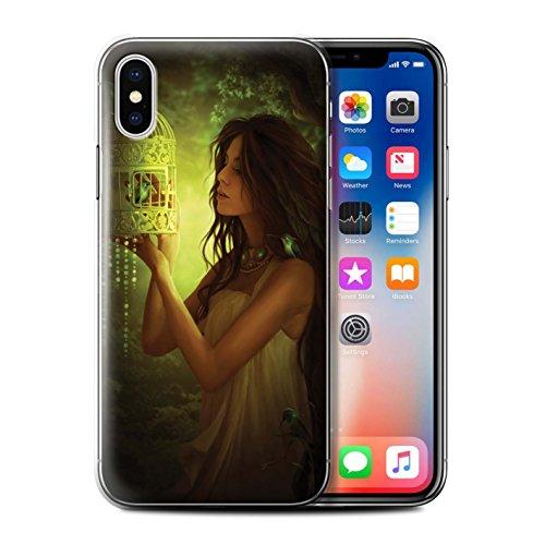 Offiziell Elena Dudina Hülle / Case für Apple iPhone X/10 / Wald/Perlenkette Muster / Die Vögel Kollektion Lassens Fliegen/Käfig