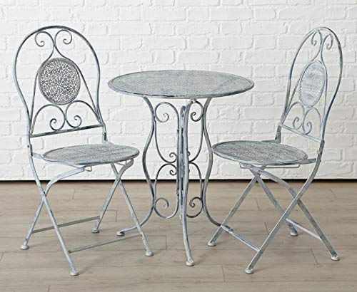 Homeshop Garten Tischgruppe in Grau Weiss Shabby-Look