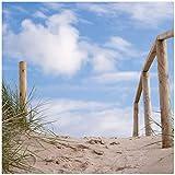 Wallario Möbeldesign - Glasbild, Motiv-Glasplatte, Schutzplatte, Abdeckplatte mit Motiv - geeignet für Ikea Lack Tisch, Größe: 55 x 55 cm, Motiv: Auf der Holztreppe Zum Strand