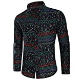 Luckycat Herren Fashion Printed Bluse beiläufige Lange Hülsen dünne Hemd Oberseiten Mode 2018