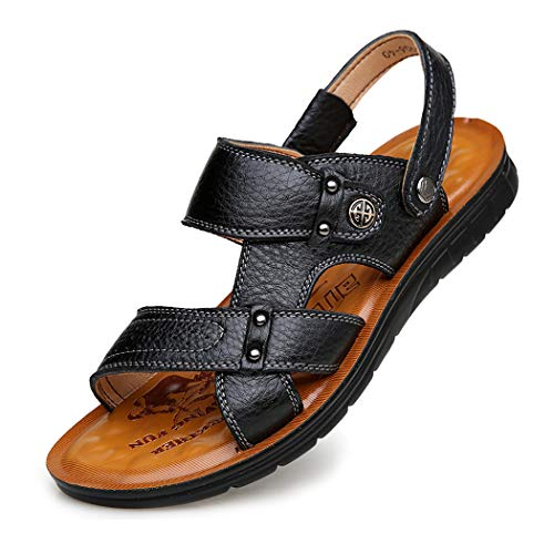 Mzq-yq Mens Leather Sport Beach Sandals Flip Flop Mule Sandals Open Toe Casual Telescopic Ferse,Black,39 -