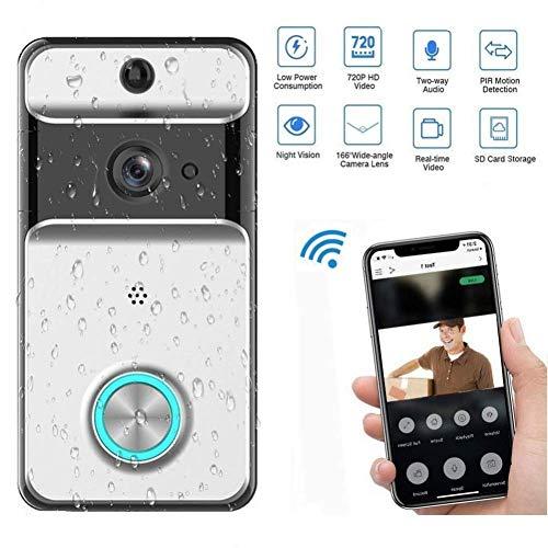 YZ-YUAN Video-Türklingel, WiFi Wireless Remote-Türklingel 720P Video-Tür, Glocke mit PIR-Bewegungserkennung, Zwei-Wege-Gespräch in Echtzeit, Nachtsicht und App-Steuerung für IOS Android