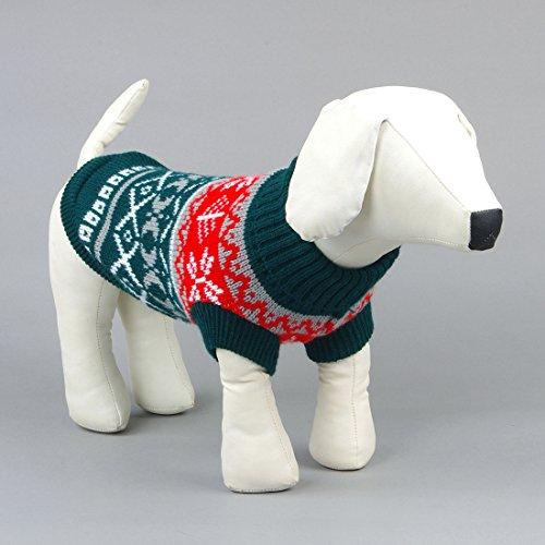 Kismaple Animale domestico Cane Panno classico Abiti Maglione caldo Cani medi / Grande Verde,L Lunghezza posteriore: 28-30cm