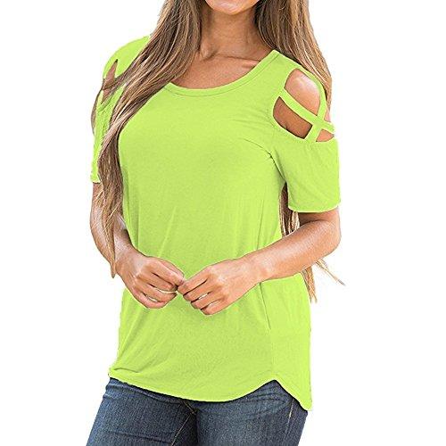JUTOO Femmes D'éTé à Manches Courtes T-Strappy Hauts Shirt éPaule Froide Blouses Vert 2XL