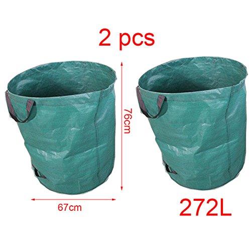 2Pcs Garten Müllbeutel, Professionelle Heavy Duty Garten Abfallsack, Große Kapazität, wasserdicht und verschleißfest für Traufe, Kartoffel Pflanzer und Einkaufskörbe. 272L Polypropylen (PP)