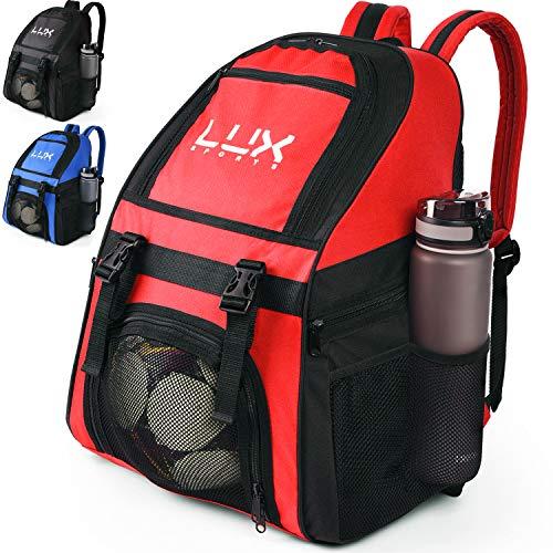LUX Fußball Rucksack mit Ballhalter Fach für Jugendliche Kinder Sport Jungen und Mädchen Team Tasche Futsal Basketball Volleyball Gym, rot