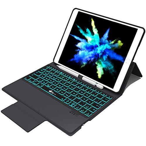 EC Technology Hülle mit Tastatur Kompatibel mit iPad 9.7 (2017) / 2018 / Air 2 / Air 1 / Pro 9,7, Bluetooth 4.0 Tastatur mit 7 Farbiger Backlight und Bleistifthalter