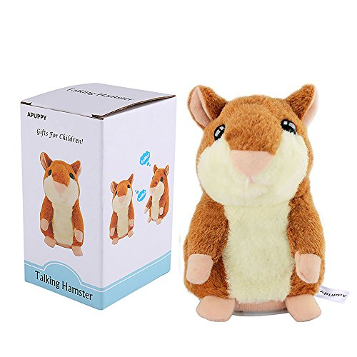 APUPPY Cute Mimicry Pet Talking Hamster Repeats What You Say Plush Animal Toy Electronic Hamster Mouse for Children/Toy Gifts Birthday Gifts Christmas Gift,3 x 5.7 inches (Brown)