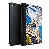 Stuff4® PU-Leder Hülle/Case/Brieftasche für Apple iPad Mini 1/2/3 Tablet/Eiffelturm Muster/Schöne Weltkunst Kollektion