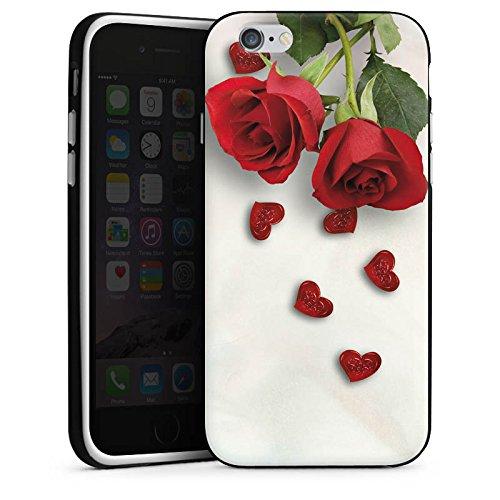 Apple iPhone X Silikon Hülle Case Schutzhülle Rose Roses and Hearts Herz Silikon Case schwarz / weiß