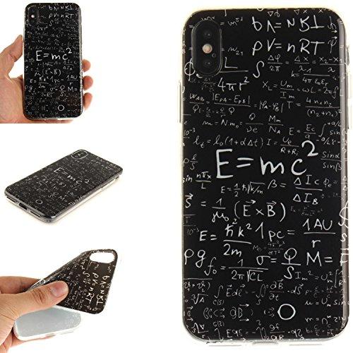Cover Per iPhone X, Sunrive Case Custodia in molle Ultra Sottile morbido TPU silicone Morbida Flessibile Pelle Antigraffio protettiva(TPU ragazza sexy) TPU formula matematica