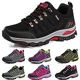 BOLOG Zapatos de Senderismo Para Hombre Zapatos de Low Rise Trekking Ocio Al Aire Libre y Deportes Zapatillas de Running Trekking de Escalada Zapatos de Montaña Mujer,Rojo Negro,EU43