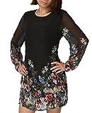 Femme Robe Imprimé Trapèze Floral Manches Longues Mouseille en soie pour Ete Automne (XL, noir)