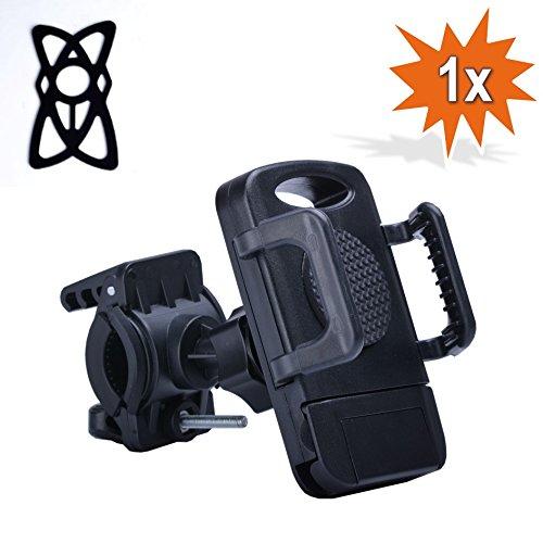360° Hochwertige Universal Smartphone Handy Navi schwarze Fahrradhalterung Halter Halterung Fahrrad Motorrad Mountainbike Lenker mit Silikon Bänder (Schwarz)