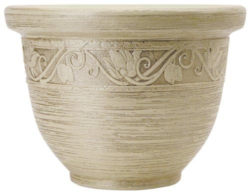 myers-zea14001p53-14-pulg-champagne-blanca-glaze-ronda-resina-jardinera-paquete-de-3