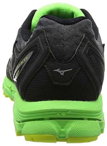 Mizuno Wave Rider 20 Jr, Chaussures de Running Compétition Homme Noir (Black/black/green Gecko)