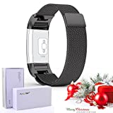 Fitbit-Charge-2-Strap-67-81-inch-Large-with-Unique-Magnet-Lock-PUGO-TOP-Milanese-Loop-Stainless-Steel-Bracelet-Strap-Band-for-Fitbit-Charge-2-Smart-Watch-No-Buckle-Needed