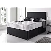 Sleep Factory Black Plush Memory Divan Bed Set with Pocket Sprung Mattress and Matching Headboard (4FT Small Double)