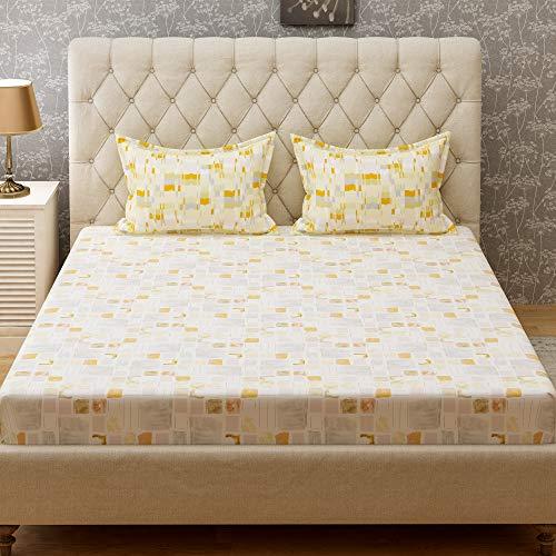 Bombay Dyeing Cynthia 120 TC Polycotton Double Bedsheet with 2 Pillow Covers - Orange