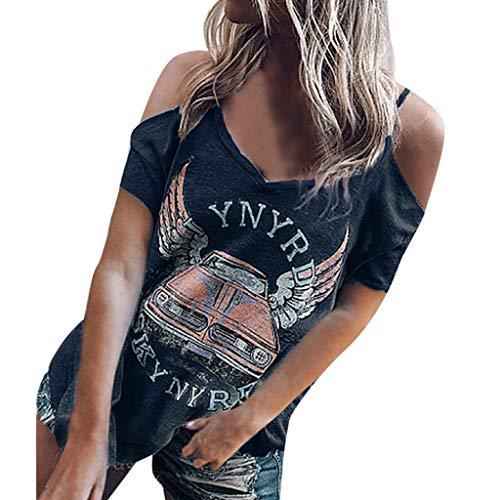 Andouy Damen T-Shirt Schulterfrei V-Ausschnitt Auto Flügel Slogan Print T-Gr.36-42 Sexy Kurzarm Tops Bluse(L(40),Marine-Auto)