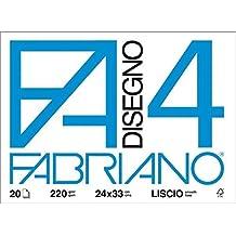 Fabriano F4 05200597, Album da Disegno, Formato 24 x 33 cm, Fogli Lisci, Grammatura 220gr/m2, 20 Fogli