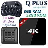 Android 7.1TV caja Q Plus CPU 3GB + 32GB Amlogic S912ocho núcleos 2,4gHz/5.0ghz WiFi Bluetooth 4.04K Media Player + i8Mini Teclado Inalámbrico