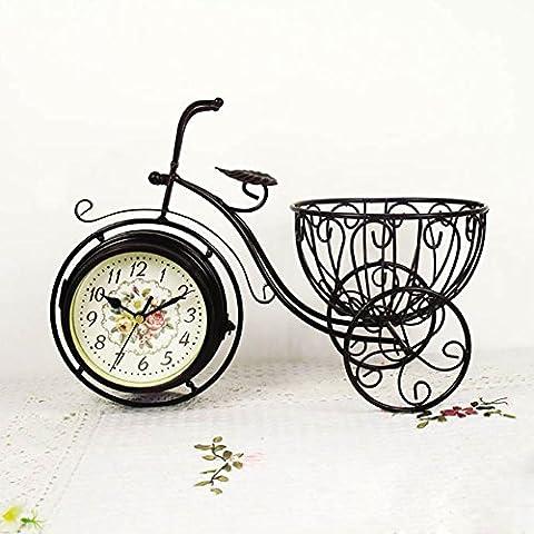 MCC Rétro double face Bronze Métal Vélo Horloge vélo non-coutil bureau Table plateau Art Horloge avec support , A