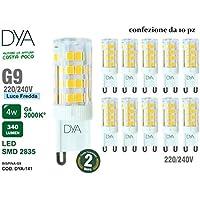 Set di 10 LAMPADINE LED BISPINA G9 - 4W - 340 Lumen - 220/240V - misure ø 16x50mm - luce fredda 6000K° raggio di illuminazione 360° - non dimmerabili
