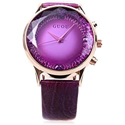 Leopard Shop GUOU 8107 Female Quartz Watch Sparkling Surface Square Cut Mirror Genuine Leather Strap Purple